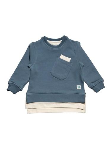 Nila Kids Gri-Mavi Rengi Erkek Bebek Cepli Organik Sweat NK08010GM (6 AY- 5 YAş) Mavi